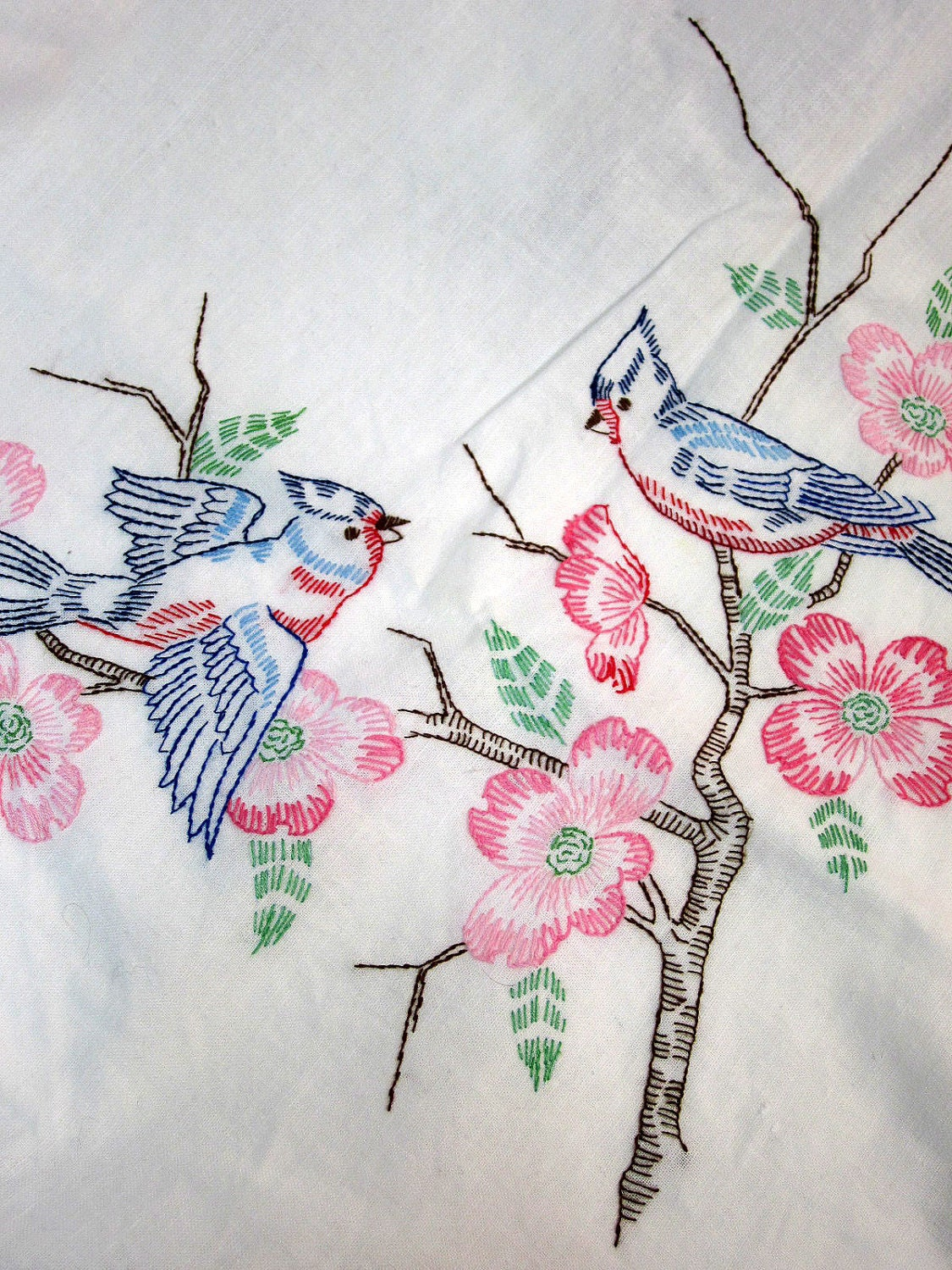 Vintage Linen Embroidered Blue Birds Table Cloth