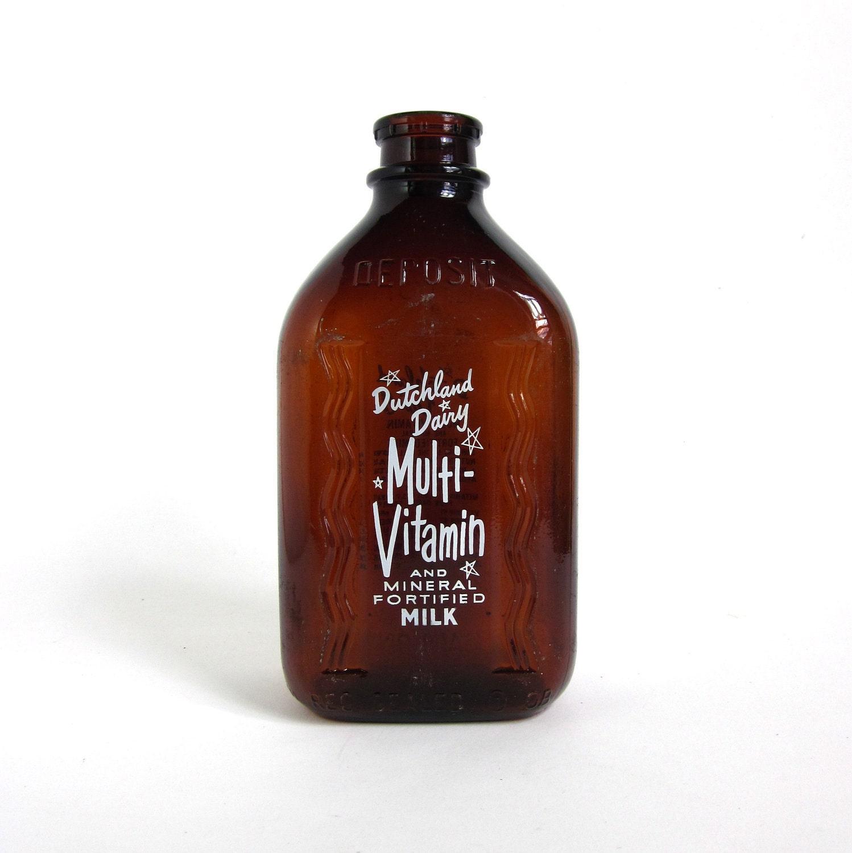 Vintage Dutchland Dairy Brown Glass Milk Bottle