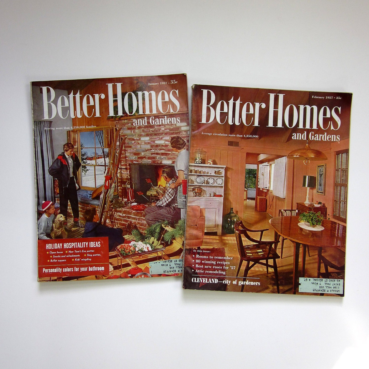 better homes and gardens magazine 1957 2 issues featuring. Black Bedroom Furniture Sets. Home Design Ideas