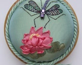 PP12 Dragonfly on Waterlily turquoise pincushion Pattern and Print kit