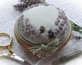 PP4 Lavender and Bees Pincushion Pattern and Print (green dupion silk) Kit