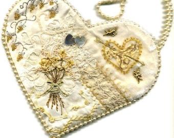 Crazy patchwork heart bag kit