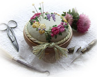 Silk Ribbon Embroidery - PP9 Roses and Wisteria Heart Pincushion Kit (pale green silk)