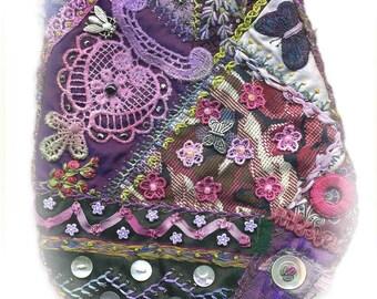Crazy Patchwork bag kit - purple colours