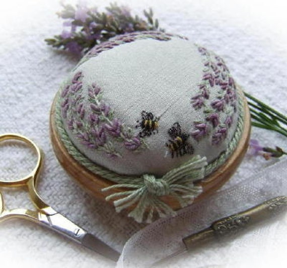 PP4 Lavender and Bees Pincushion Pattern and Print (green dupion silk) Kit