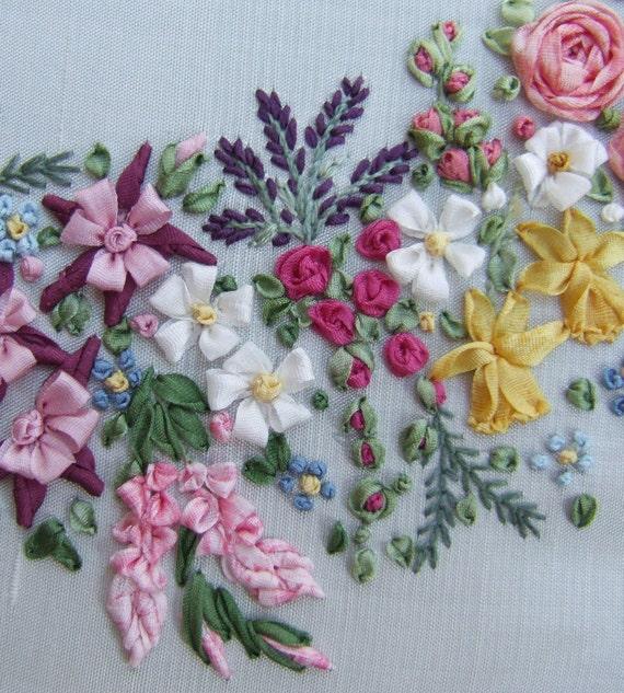 Pdf garland of silk ribbon flowers pattern for di