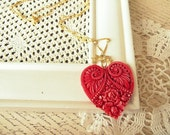 ON SALE  Red Dyed Floral Heart Necklace