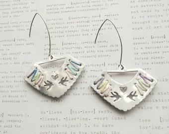 ON SALE  Silver Handcut Cross Stitch Earrings