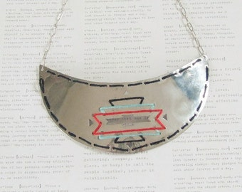 ON SALE Handcut Silver Aztec Threaded Necklace