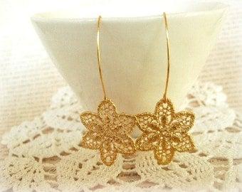 ON SALE  Gold Flower Lace Earrings