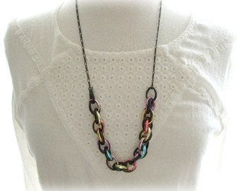 ON SALE  Black Necklace with Chunky Colorful Chain Centre