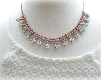 ON SALE  Rhinestone Necklace in Salmon and Grey