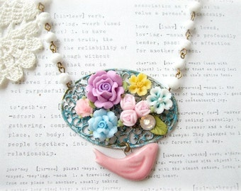 ON SALE  Colourful Floral Blue & White Necklace with Pink Bird