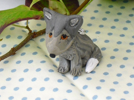 Little wolf pup hand sculpted polymer clay wolfie pendant
