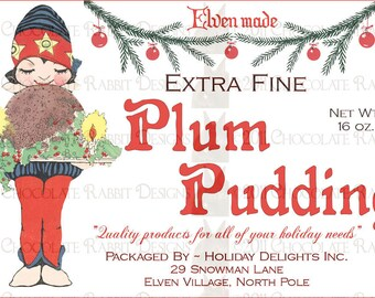 Vintage Christmas Plum Pudding Label Digital Download Image Printable Sheet for Card Tag Scrapbook