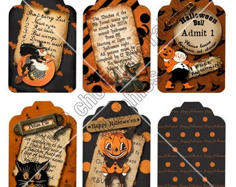 Halloween Tags Digital Download Vintage Retro Scrapbook Collage Sheet Gift Tags