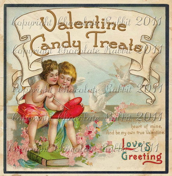 Vintage Victorian Valentine Candy Label Digital Download Collage Sheet Gift Tag Scrapbook Printable
