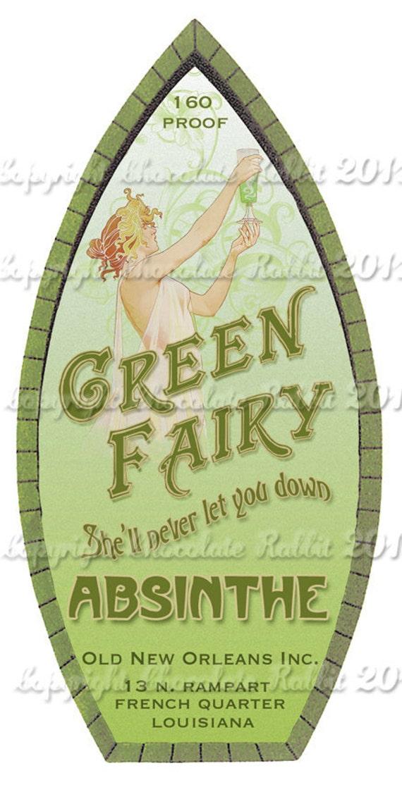 Absinthe Bottle Label Download Digital Printable Clip Art Collage Sheet for Tags Labels Scrapbook