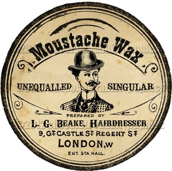 Mustache Moustache Wax Label Tag Digital Download Printable Collage Sheet Vintage Victorian Clip Art