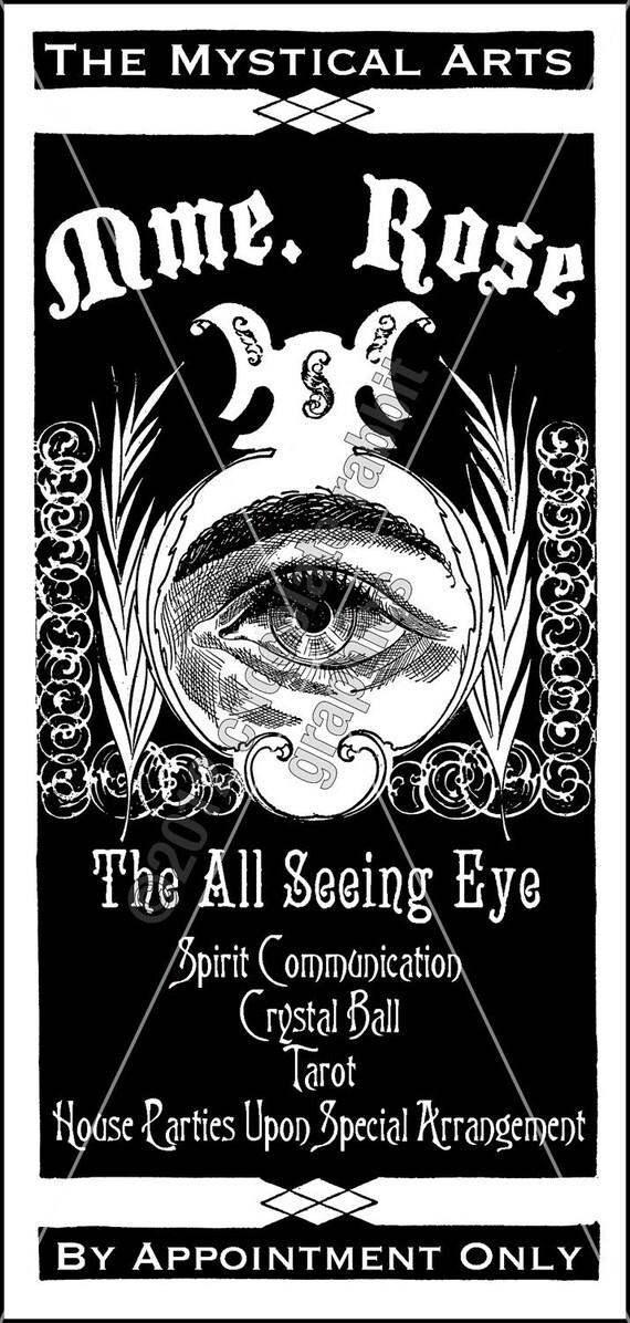 Halloween Psychic Victorian Tag Digital Download Clip Art Scrapbook Printable Label Image