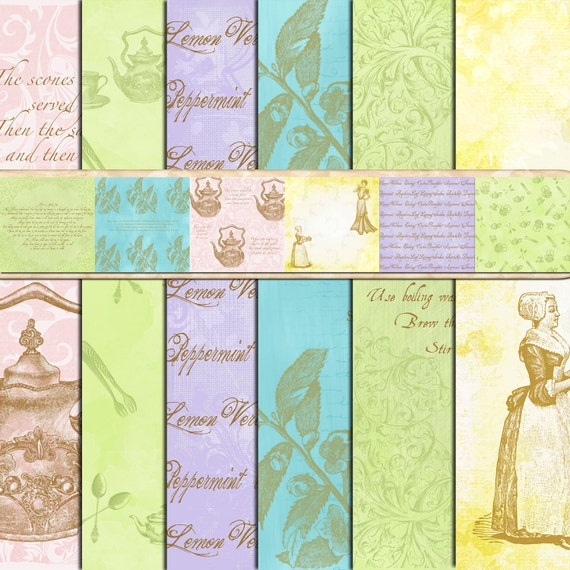 Vintage Victorian Digital Scrapbook Paper Pack Ladies Tea Download Background Papers Commercial Use OK