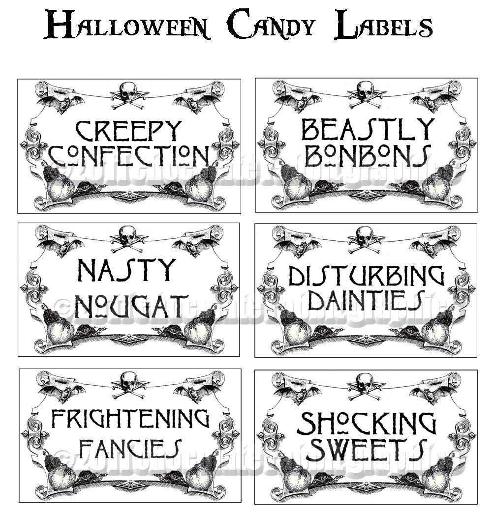 Vintage Halloween Party Candy Trick or Treat Labels Tags ...