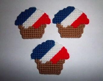 3 Handmade Patriotic Cupcake Magnets.....Plastic Canvas