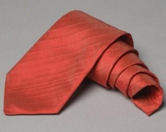 Handmade Striped Mens Silk Neck Tie in Peony Pink