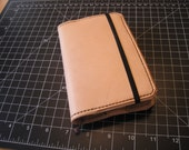 Handstitched Leather Pocket Moleskine Cover - Natural with Olive Thread
