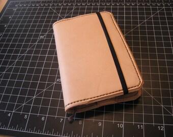 Handstitched Leather Pocket Moleskine Cover - Natural with Olive Thread