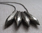 Vintage bead necklace, vintage lucite, handmade. fang