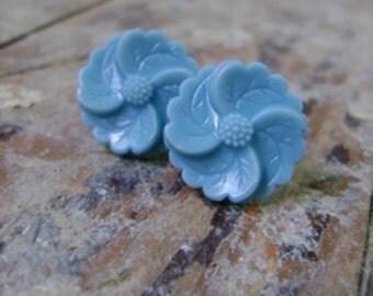 vintage blue button post earrings - miller