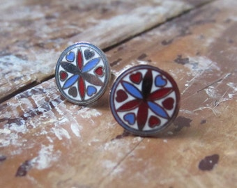 stud earrings, vintage enamel, handmade dutch hex symbols. stockholm