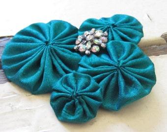 blue fascinator, yoyo flowers, silk, vintage rhinestone button.  LIMITED. drift