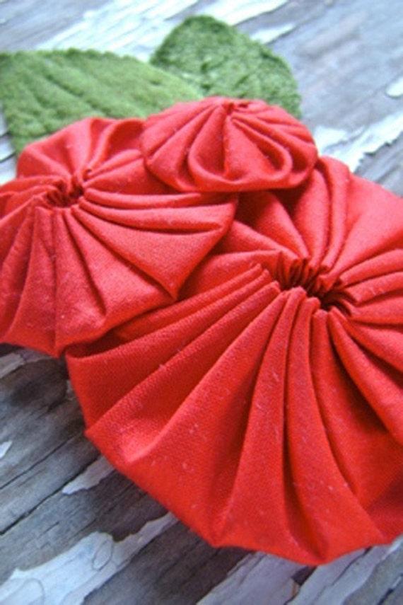 ruby - handmade red silk yo-yo flower and vintage millinery fascinator