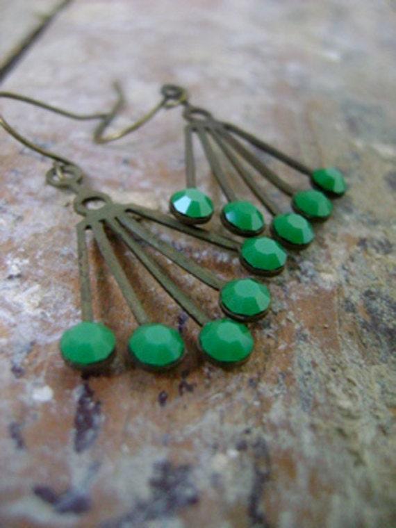 vintage art deco earrings, brass earrings - gatsby
