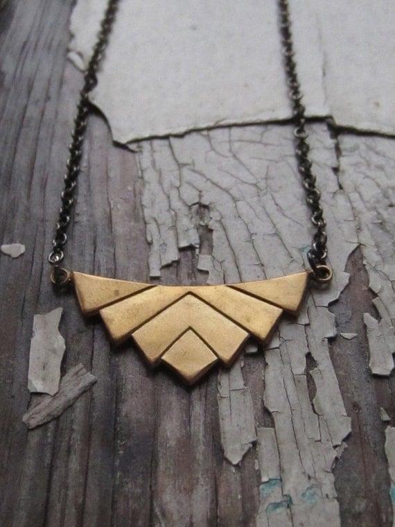 chevron necklace, brass, art deco. lotus