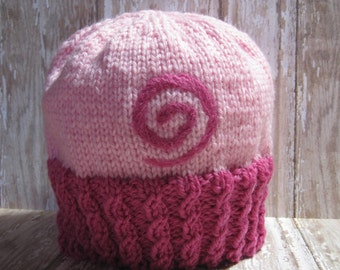 Pink Power hand knit baby hat
