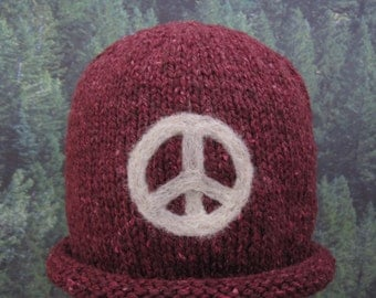 Peace Baby Red and off white hand knit hat