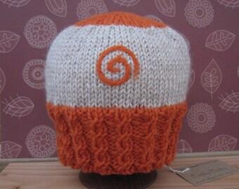 Orange Energy hand knit baby hat