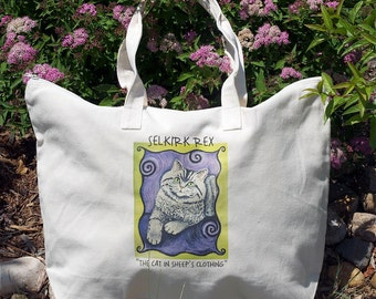 Cat Canvas Tote natural color  Selkirk Rex curly hair cat design purple green