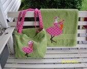 Flamingo towel with matching beach bag