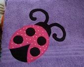 Purple Towel with Pink Ladybug
