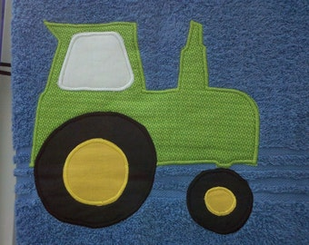 Blue Tractor Towel