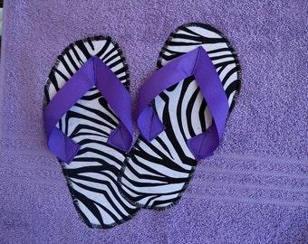 Purple Zebra Flip Flop Towel