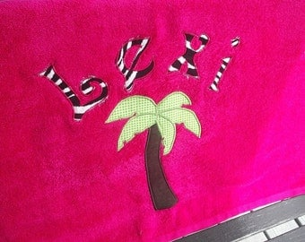 Hot Pink Palm Tree Towel with name