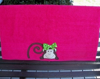 Hot Pink Monkey Towel
