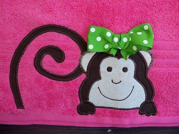 Pink Monkey Towel