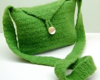 Felted Wool Cross Body Bag - Grass Kelly Green - Crocheted Purse - Modern Minimal - Urban Boho Chic