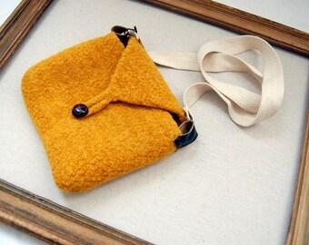 Felted Wool Cross Body Bag -Bright Yellow Gold - Look Ma, No Hands - Crocheted Purse - Hip Bag - Modern Minimal - Urban Boho Chic